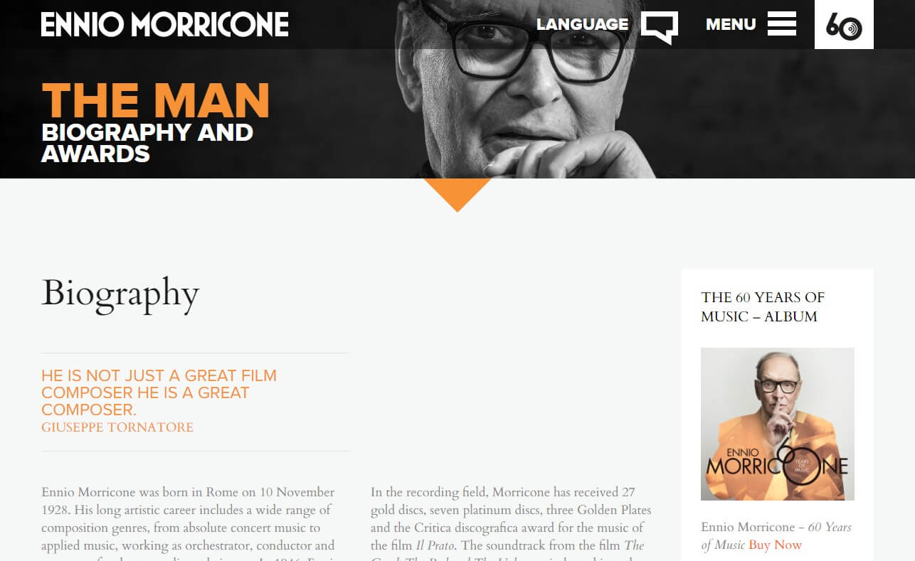 Ennio Morricone | Official websiteのWEBデザイン