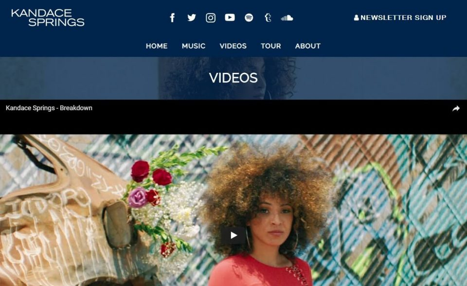 Kandace Springs | Official SiteのWEBデザイン