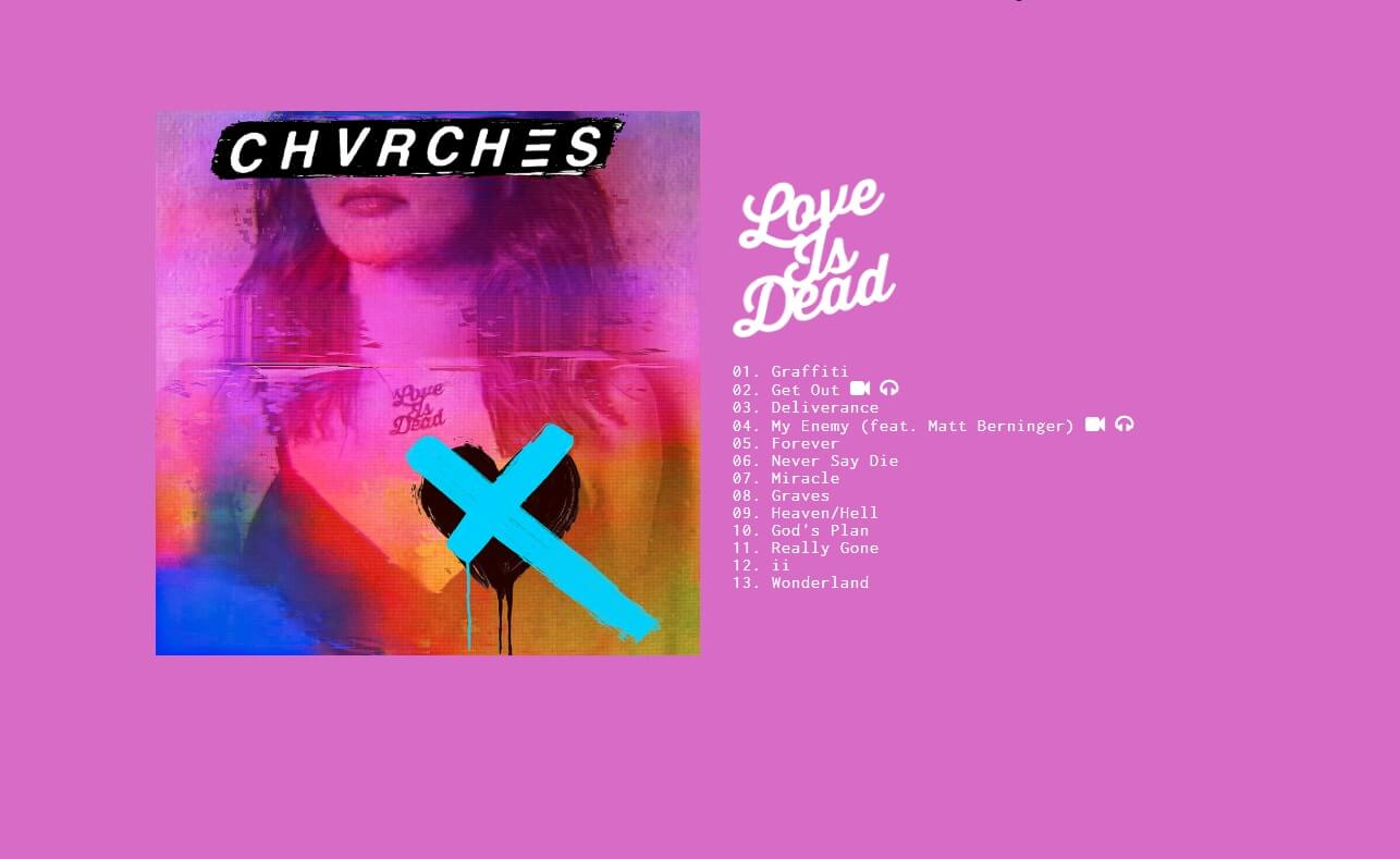 CHVRCHES | LOVE IS DEADのWEBデザイン