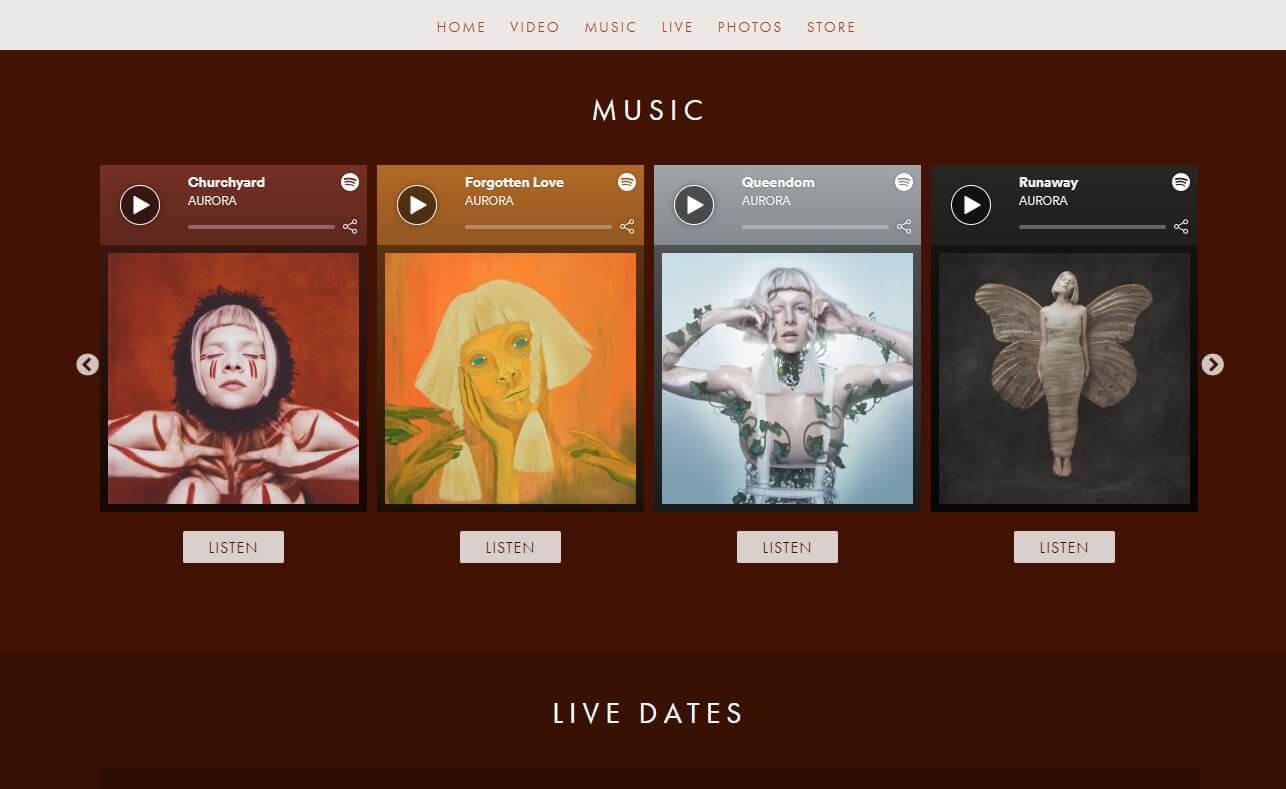 AURORA | OFFICIAL WEBSITEのWEBデザイン