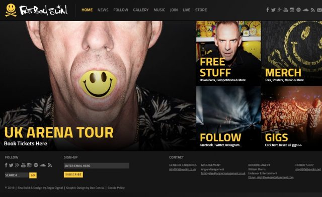 Fatboy Slim – Official WebsiteのWEBデザイン