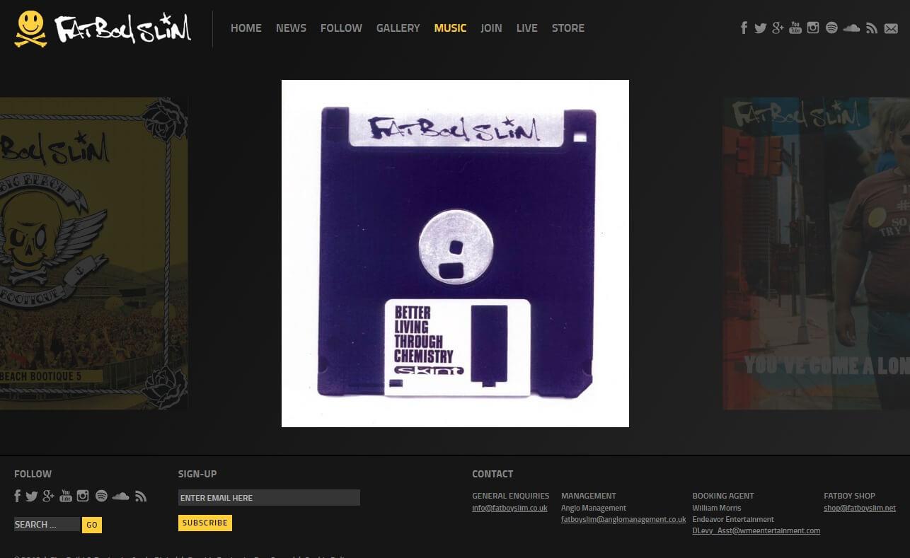 Fatboy Slim – Official WebsiteのWEBデザイン