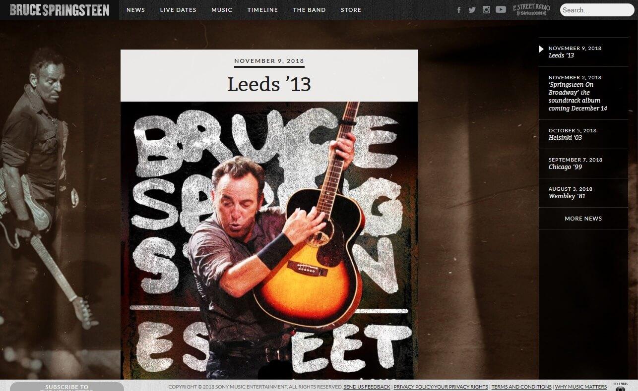 Bruce SpringsteenのWEBデザイン