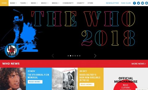 The Who – Official Site of The Who, Pete Townshend and Roger Daltrey.のWEBデザイン