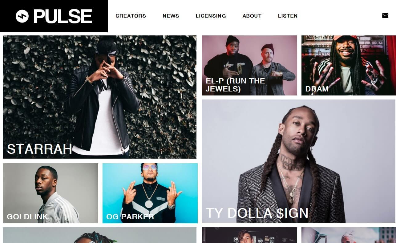 Pulse Music GroupのWEBデザイン
