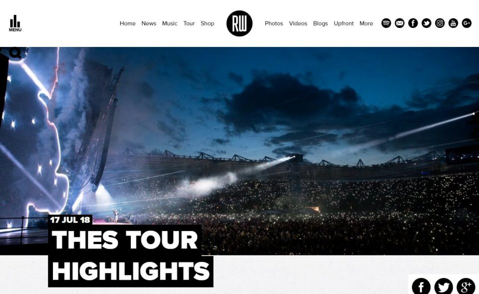 Robbie Williams – The Heavy Entertainment ShowのWEBデザイン