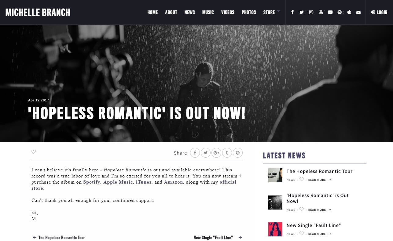 Michelle Branch | Official SiteのWEBデザイン