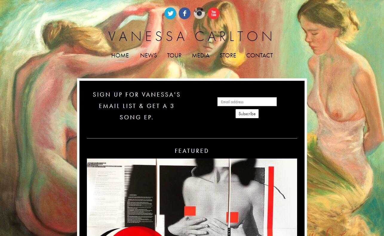 Vanessa CarltonのWEBデザイン