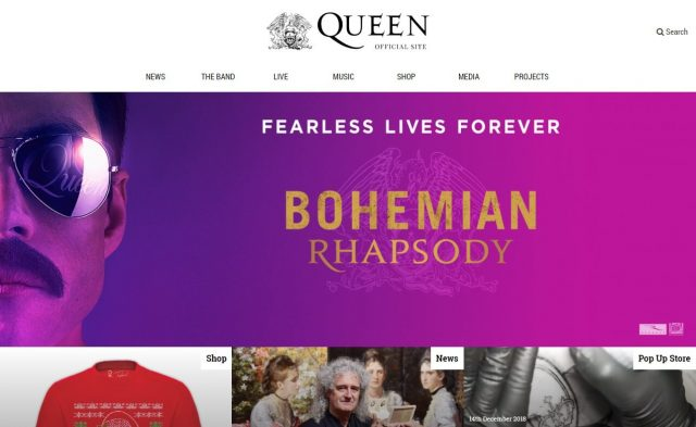 QueenOnline.com – The Official Queen WebsiteのWEBデザイン