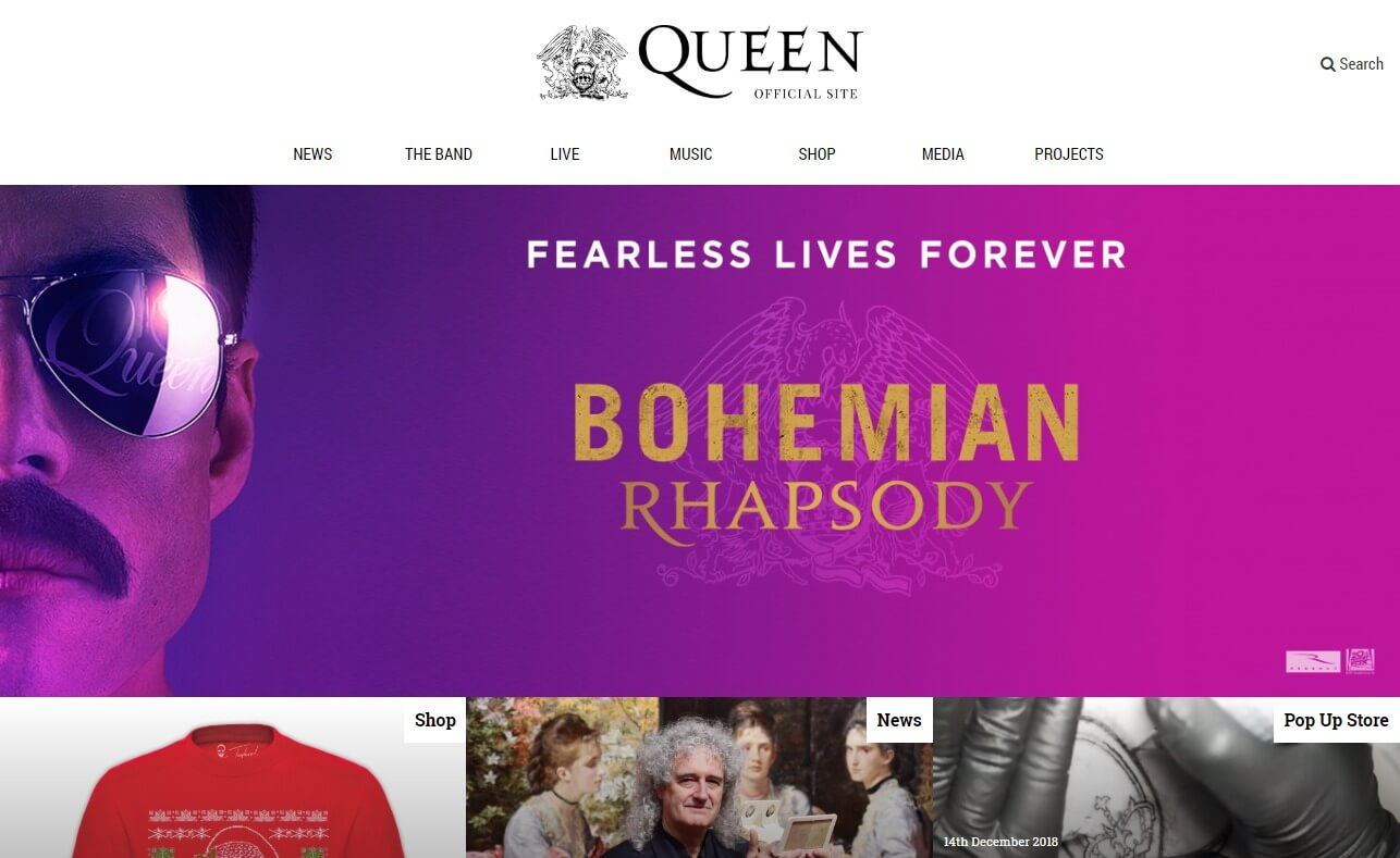 QueenOnline.com – The Official Queen WebsiteのWEBデザイン