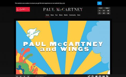 Official Paul McCartney: Tours, Music, Media & CommunityのWEBデザイン