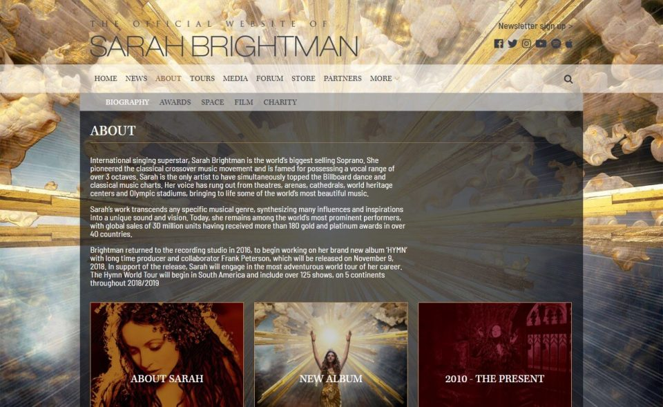 Sarah BrightmanのWEBデザイン