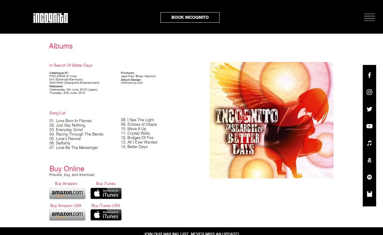 Incognito.london | Official Band WebsiteのWEBデザイン