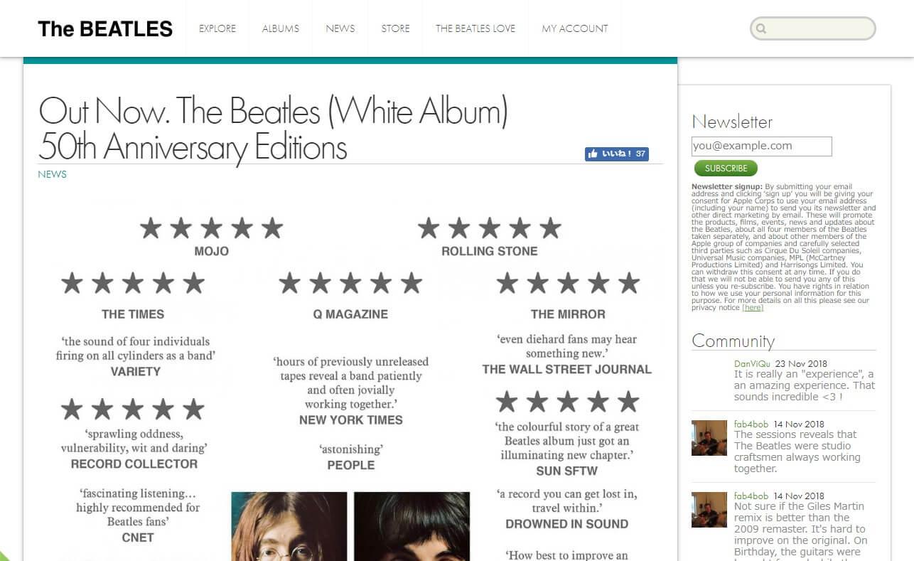 The BeatlesのWEBデザイン