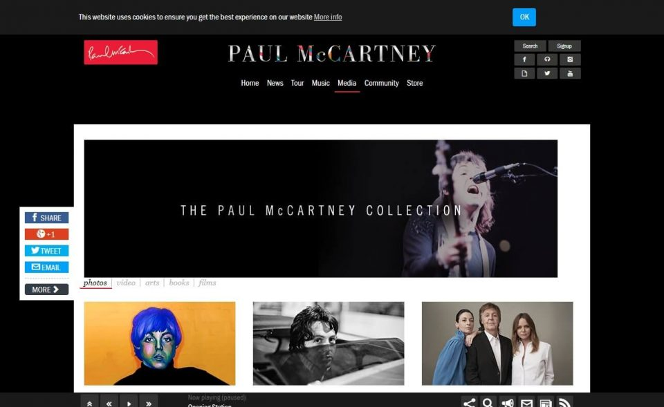 Official Paul McCartney: Tours, Music, Media & CommunityのWEBデザイン