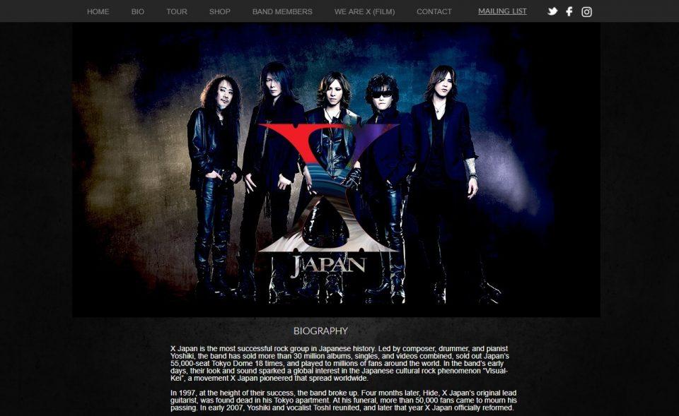 X JAPANのWEBデザイン