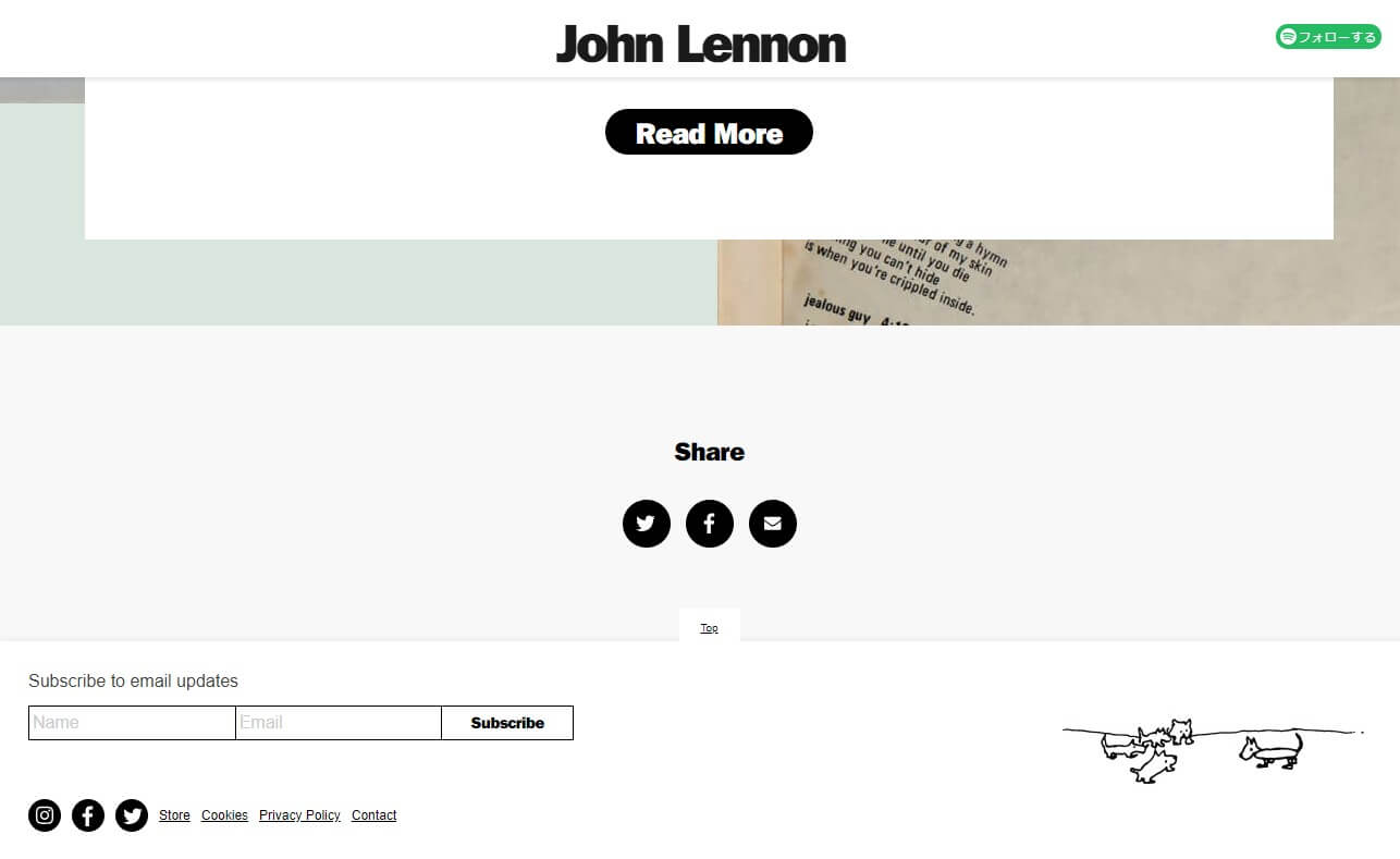 John Lennon – Official WebsiteのWEBデザイン