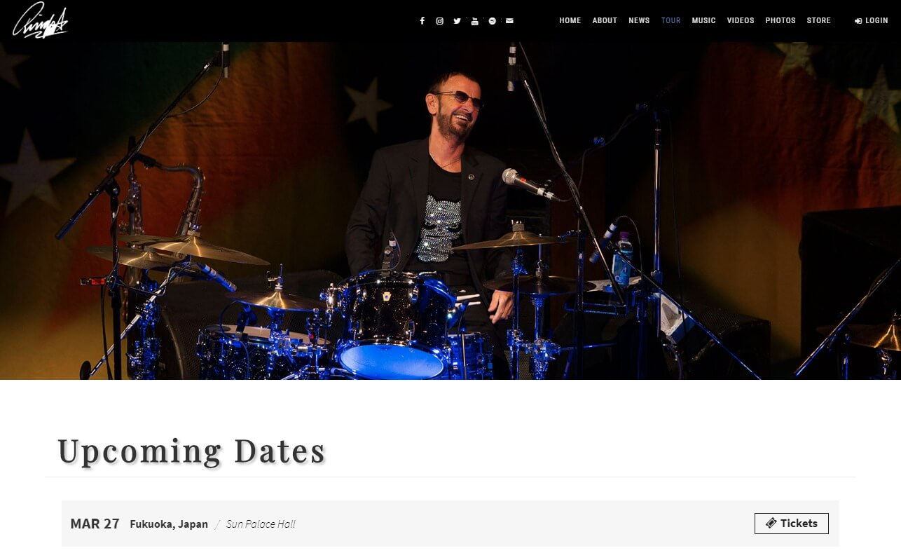 Ringo Starr | Official SiteのWEBデザイン
