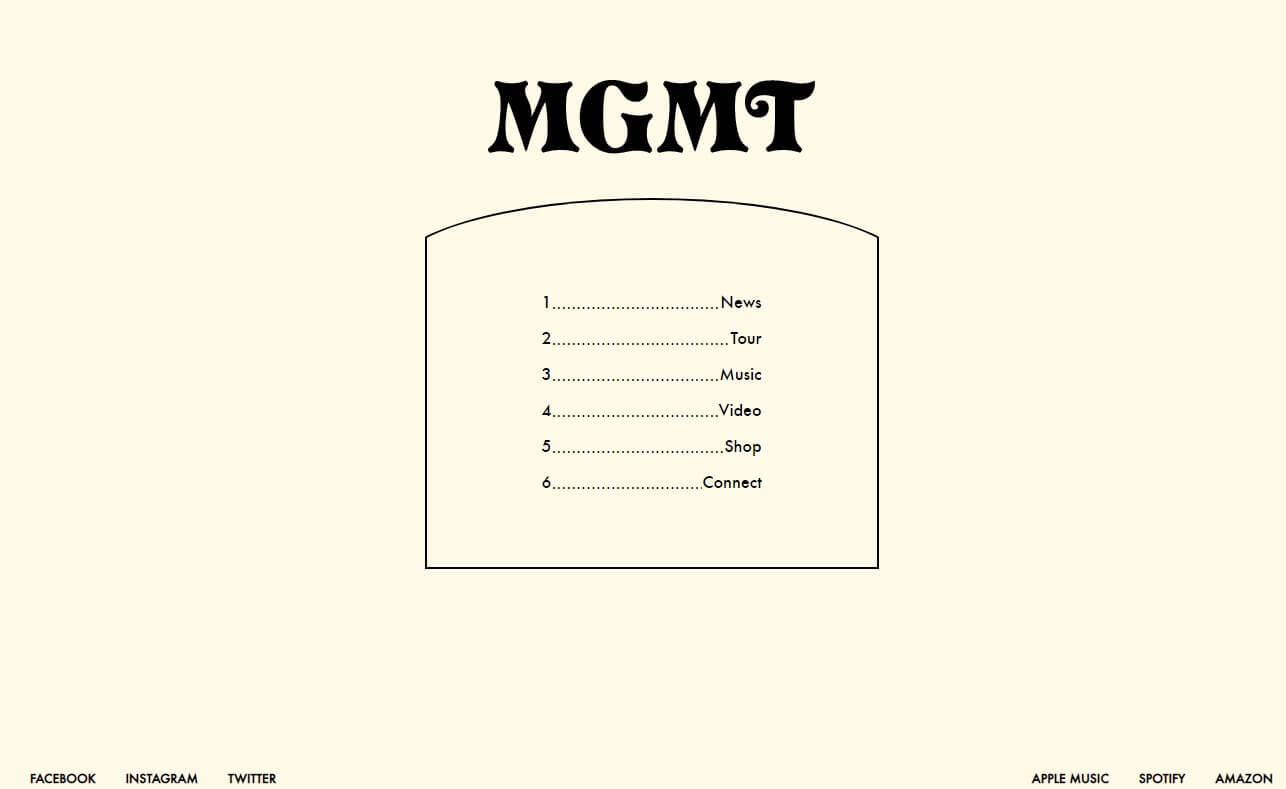 MGMT | Official SiteのWEBデザイン