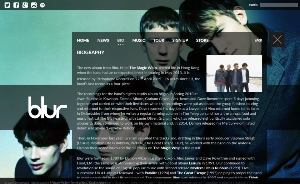 blur | Official websiteのWEBデザイン