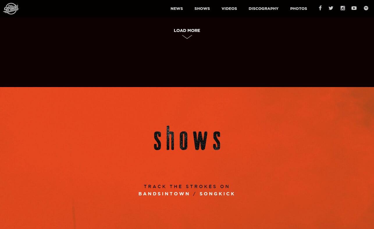 The StrokesのWEBデザイン