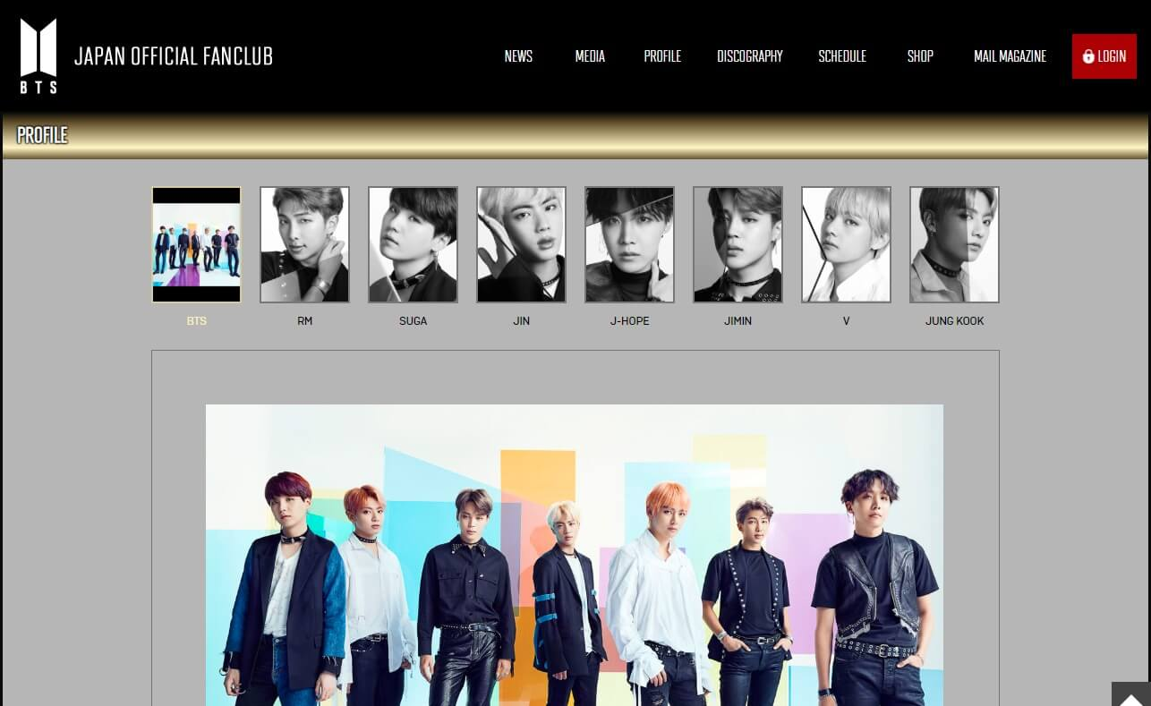 BTS JAPAN OFFICIAL FANCLUBのWEBデザイン