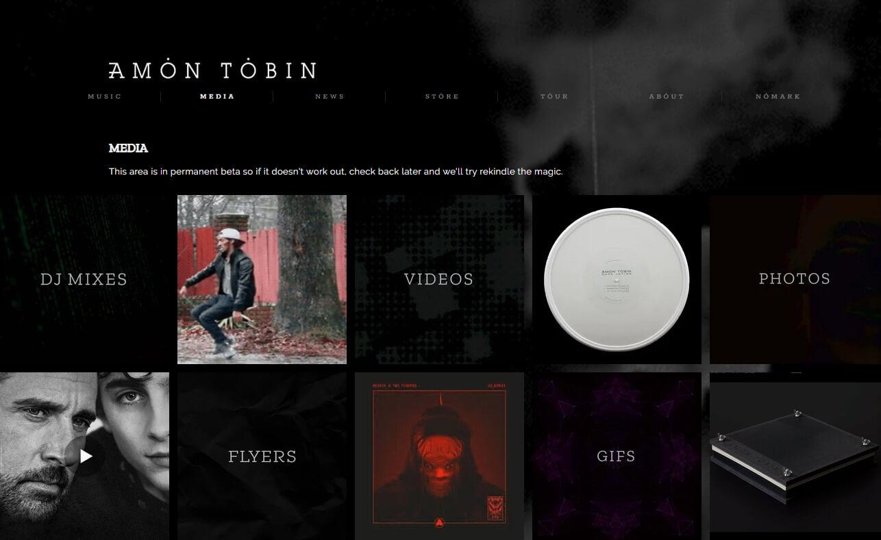 Amon TobinのWEBデザイン