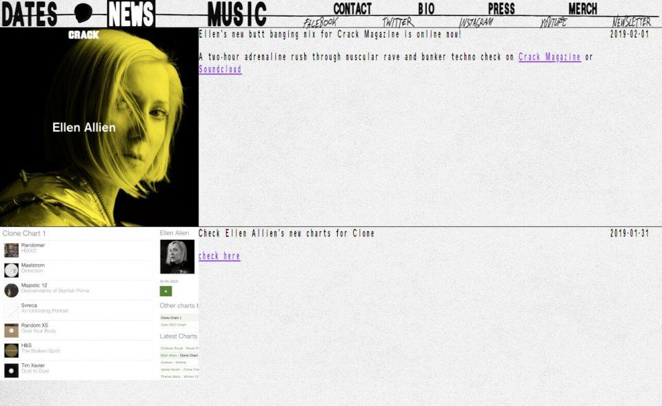 Ellen Allien – Official Web PageのWEBデザイン
