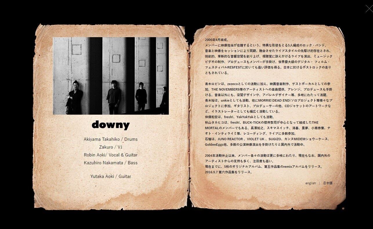 downy official siteのWEBデザイン