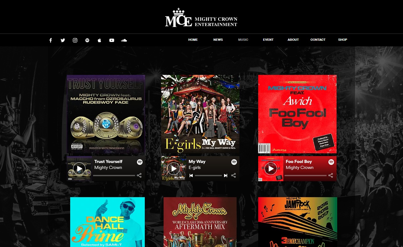 MIGHTY CROWN ENTERTAINMENTのWEBデザイン
