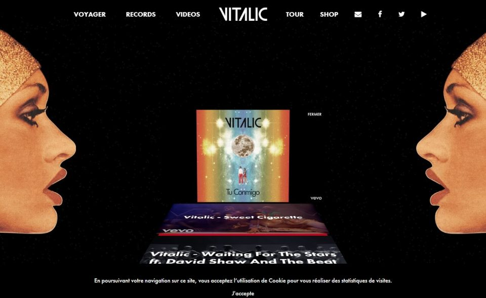 VITALIC – Voyager, new album available.のWEBデザイン