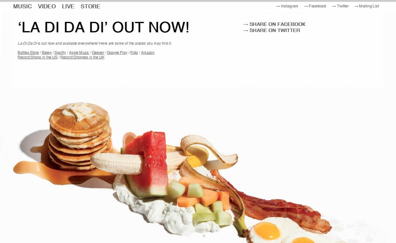 BATTLES — Battles third album 'La Di Da Di' out 18 SeptemberのWEBデザイン