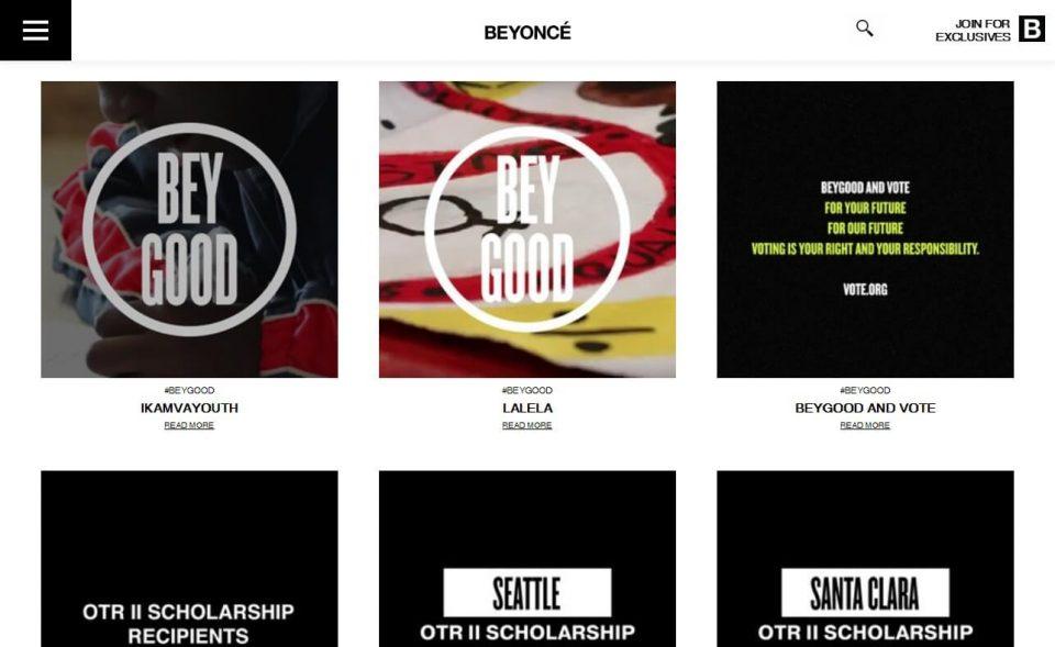 BeyoncéのWEBデザイン
