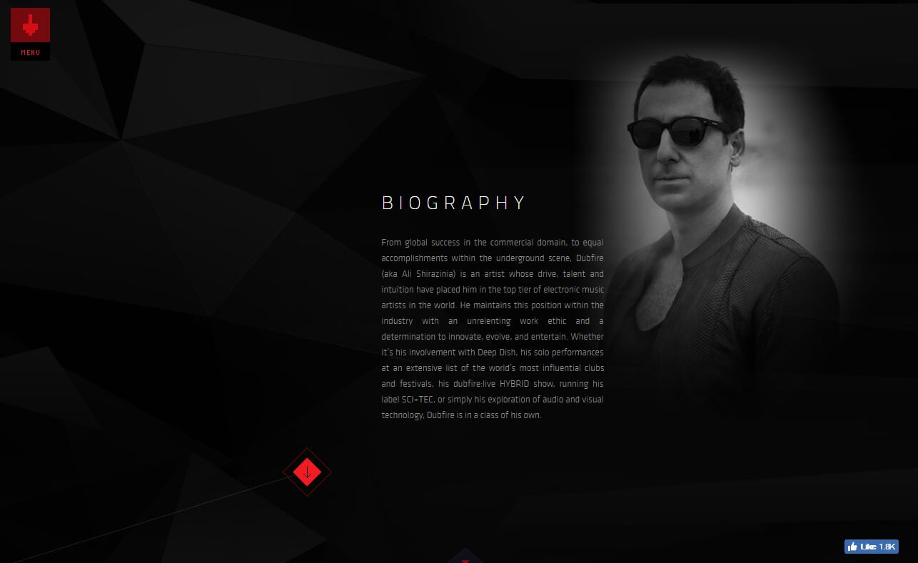 Dubfire Official websiteのWEBデザイン