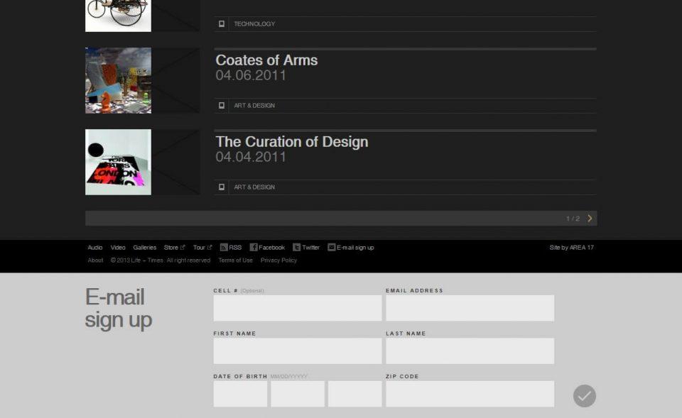JAY Z's Life+TimesのWEBデザイン