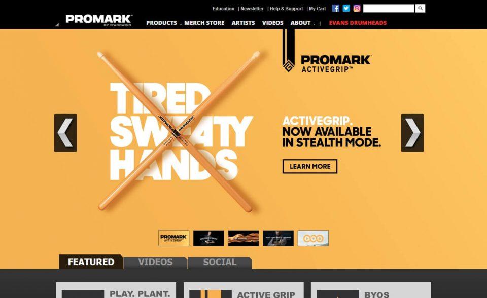 Promark Drumsticks : HomeのWEBデザイン