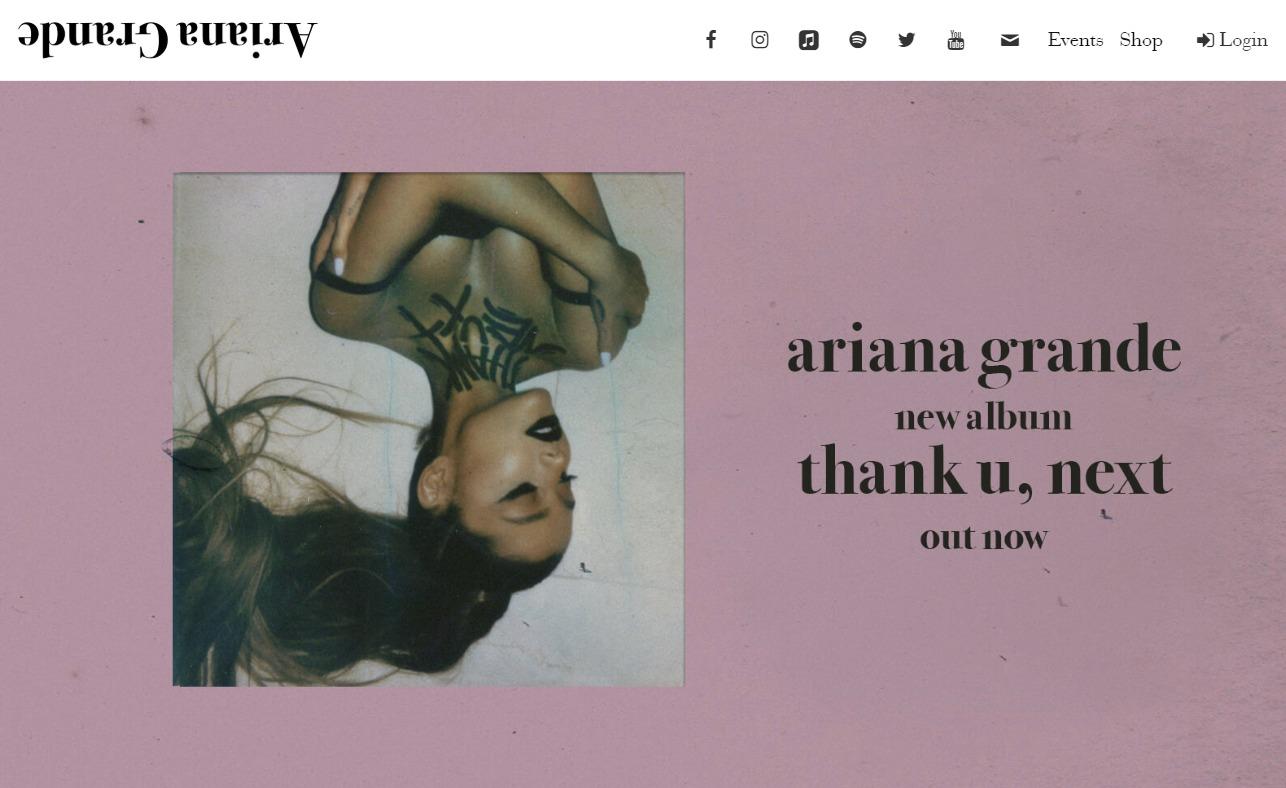 Ariana Grande | HomeのWEBデザイン