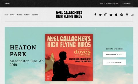 Official Website | Noel Gallagher's High Flying BirdsのWEBデザイン