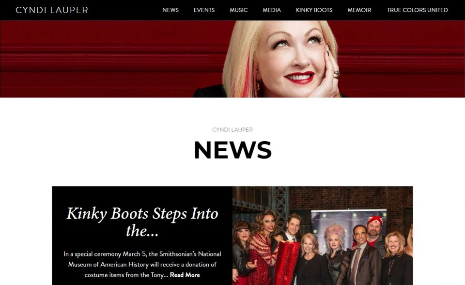 Cyndi Lauper – Official SiteのWEBデザイン