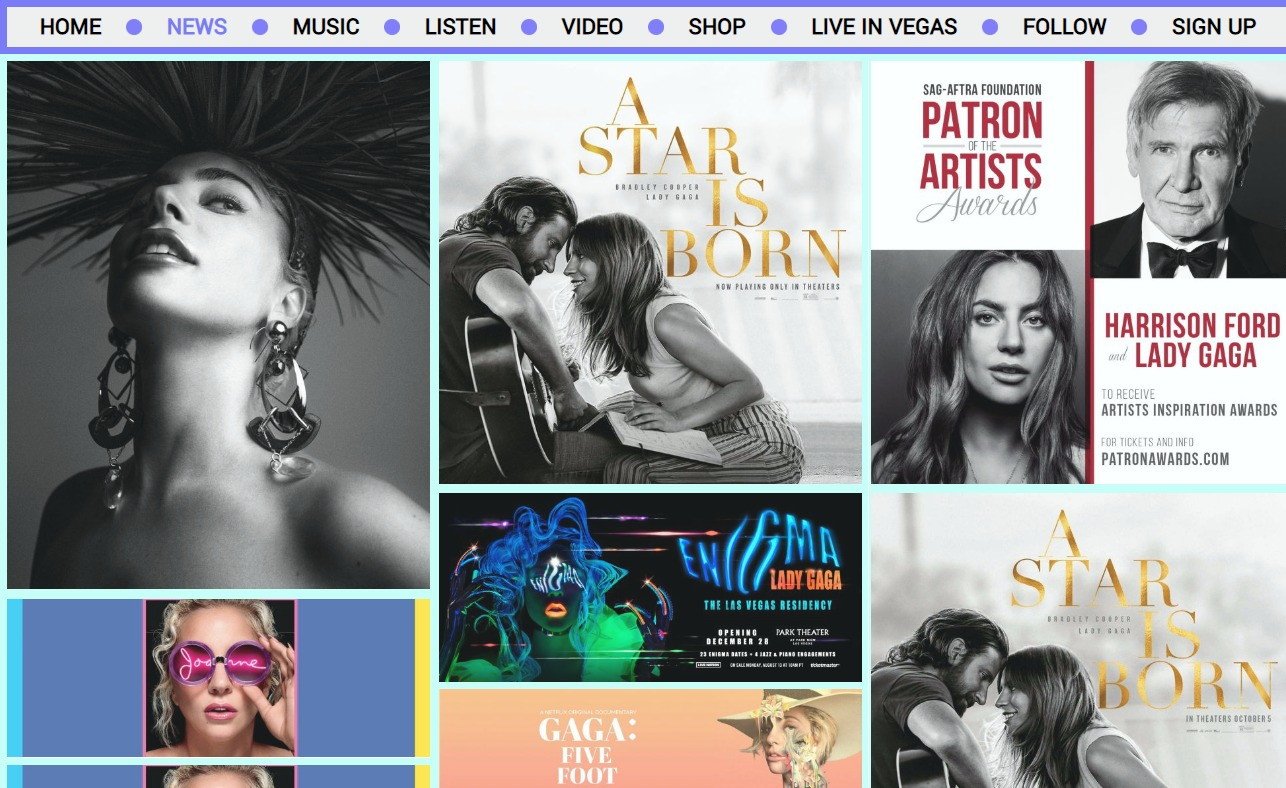 LADY GAGA | OFFICIAL WEBSITEのWEBデザイン