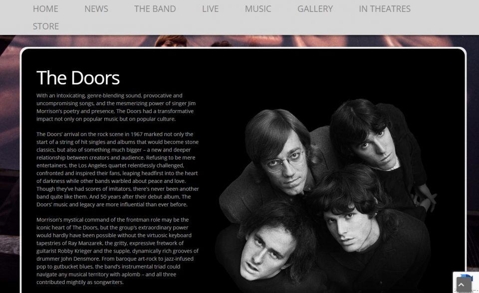 The Doors – Official Website Of The DoorsのWEBデザイン