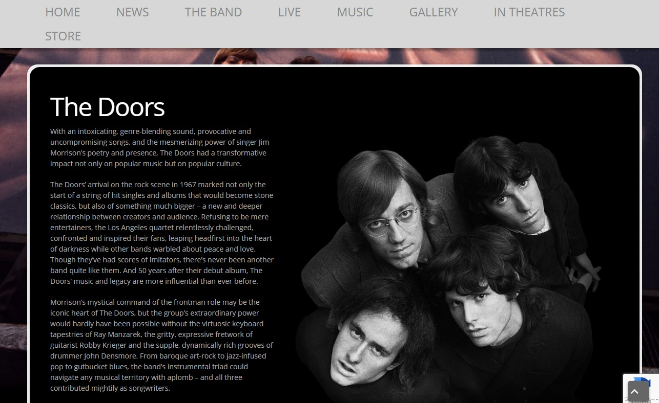 The Doors – Official Website Of The DoorsのWEBデザイン