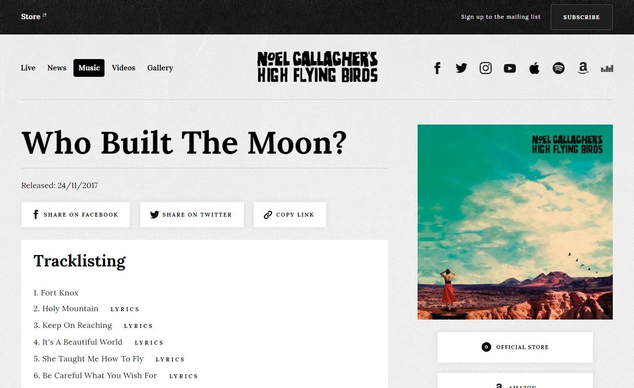 Official Website | Noel Gallagher's High Flying BirdsのWEBデザイン