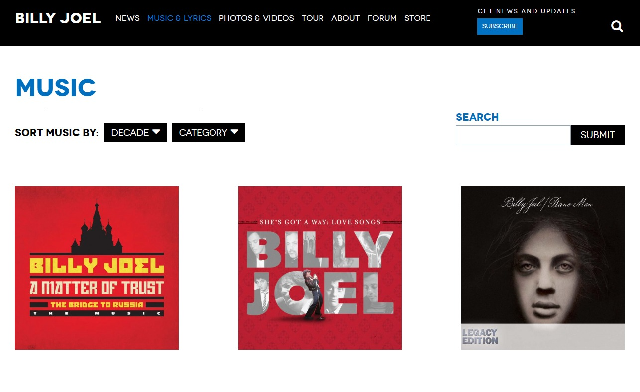 Home | Billy Joel Official SiteのWEBデザイン