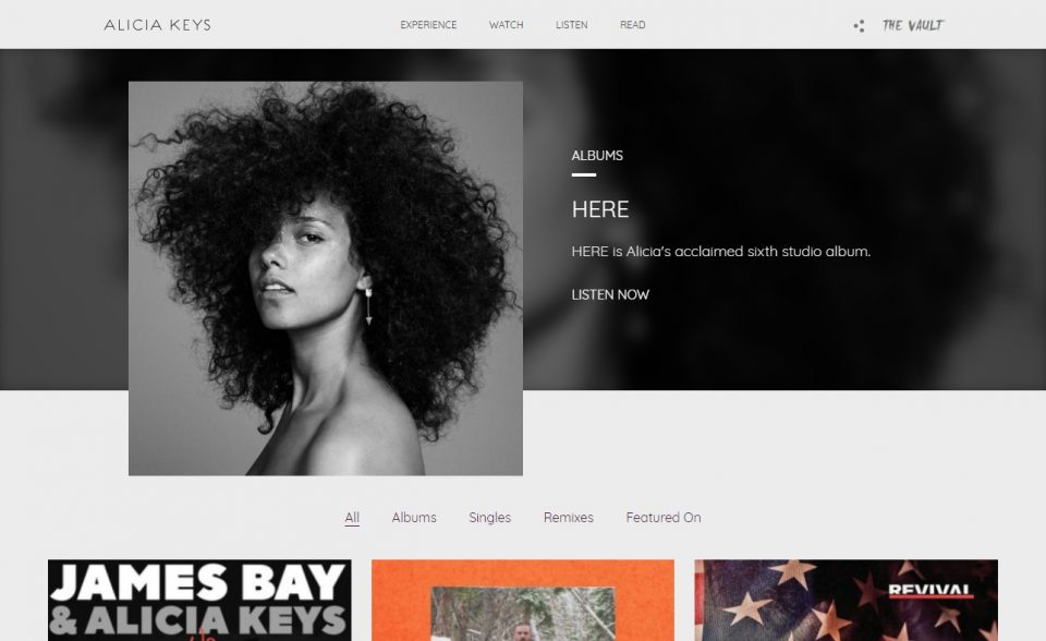 Alicia Keys » Official SiteのWEBデザイン
