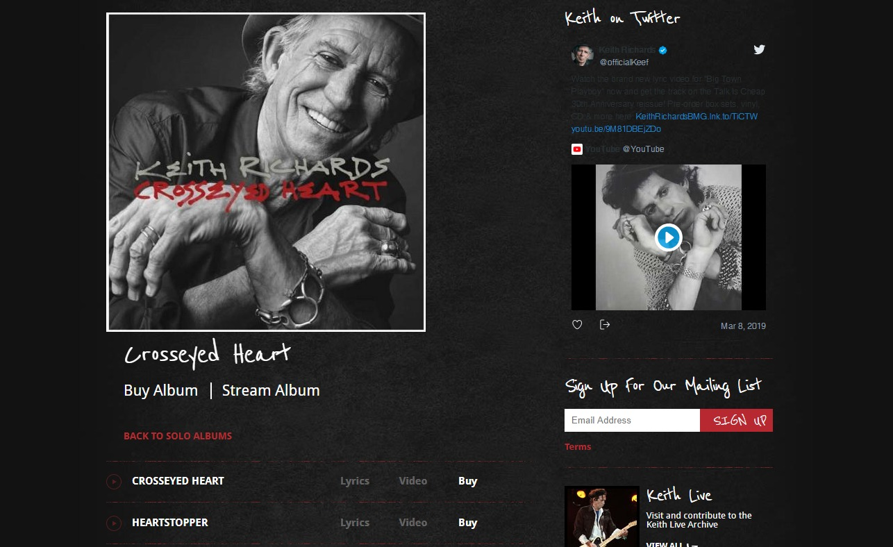 This is the official community of Keith Richards, your source for the latest news and updates on Keith Richards.のWEBデザイン
