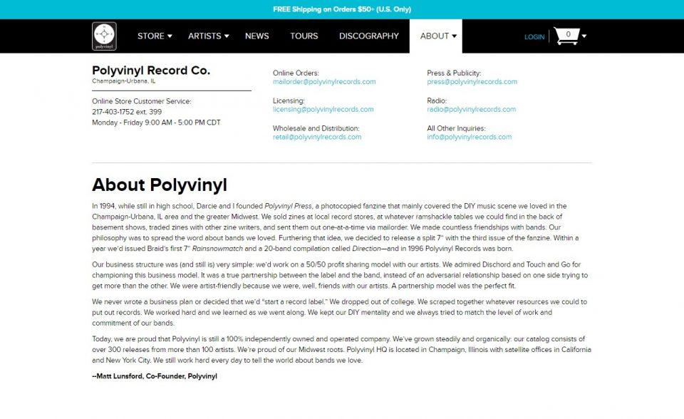 Polyvinyl RecordsのWEBデザイン