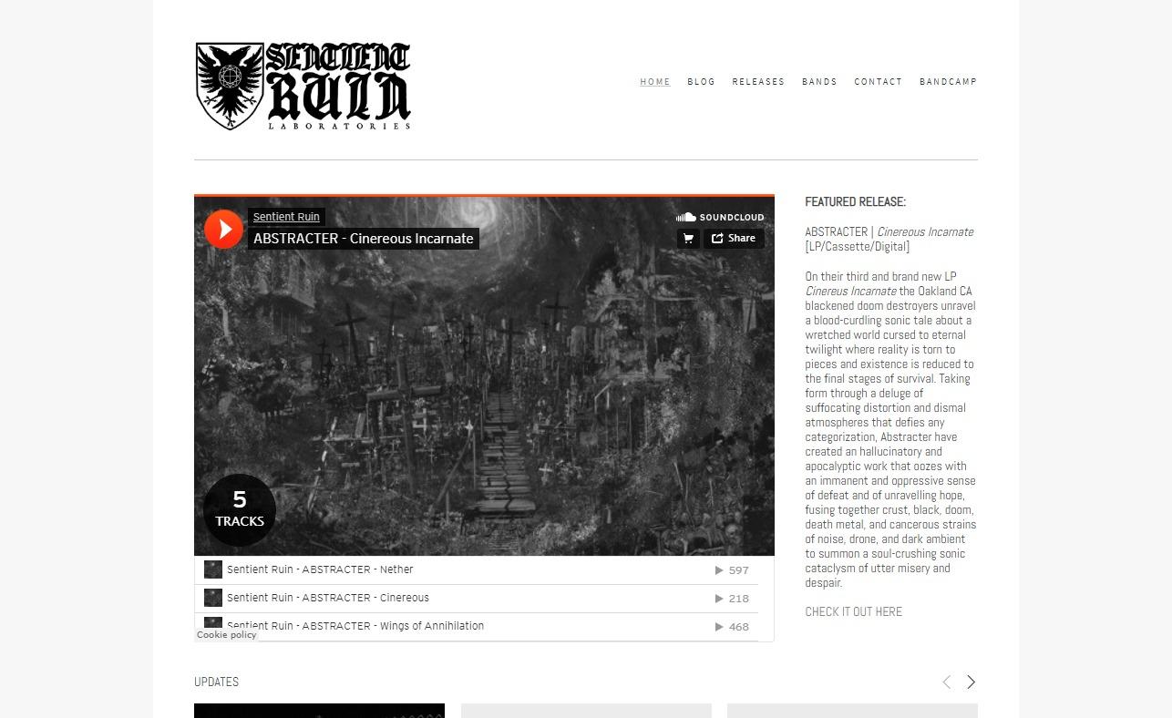 Sentient Ruin LaboratoriesのWEBデザイン