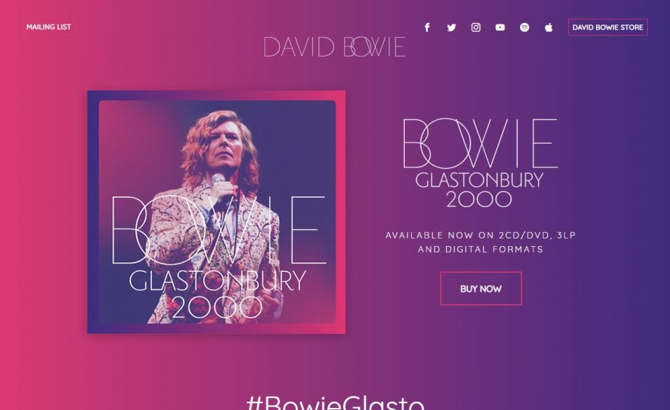 David Bowie | The official website of David Bowie | Out Now Glastonbury 2000のWEBデザイン
