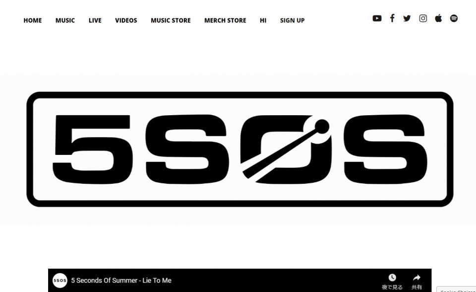 Home – 5 Seconds of SummerのWEBデザイン